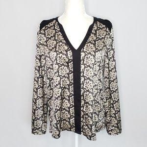 Vince Camuto black tan & white long sleeve Top S